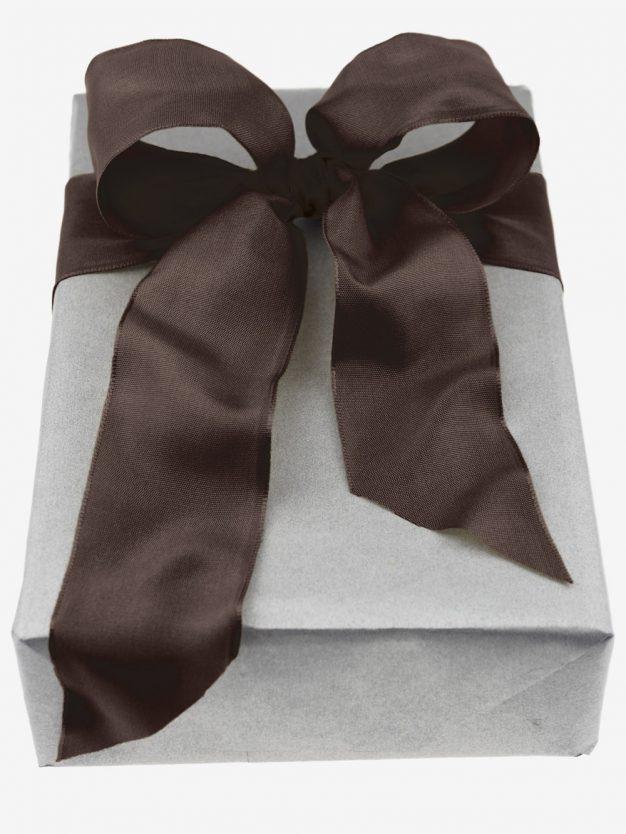Geschenkband mit Drahtkante gewebt - Schleife - dunkelbraun