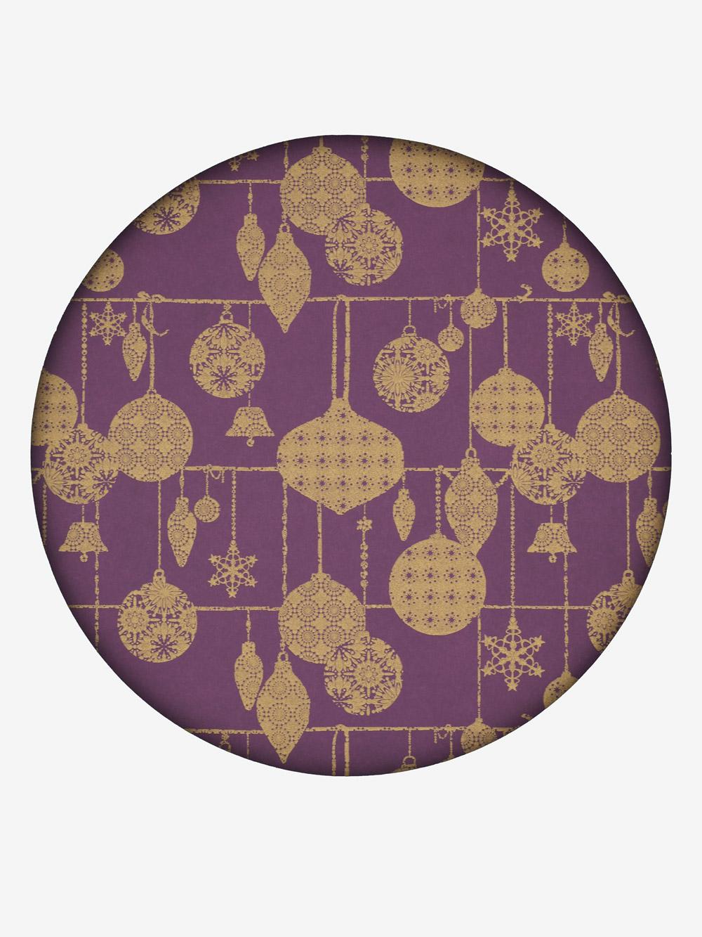 geschenkpapier aubergine motiv weihnachtskugeln in gold sonderpreis. Black Bedroom Furniture Sets. Home Design Ideas