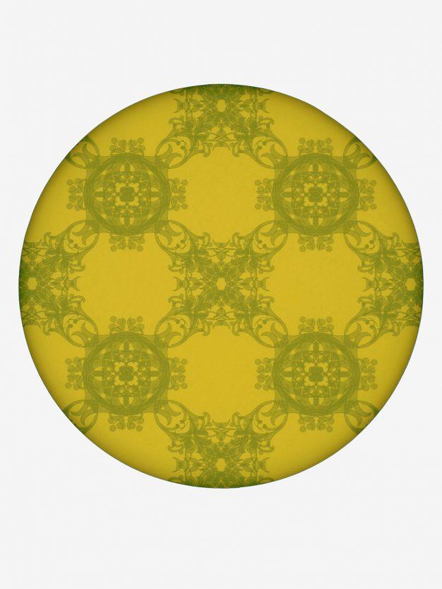 geschenkpapier-gelb-mit-jugendstil-olivgruen