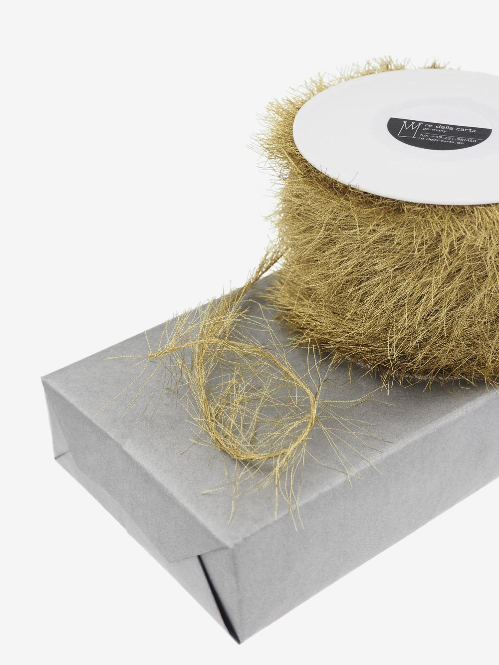 fransenband gold edel gl nzend f r weihnachtsp ckchen grossrolle. Black Bedroom Furniture Sets. Home Design Ideas
