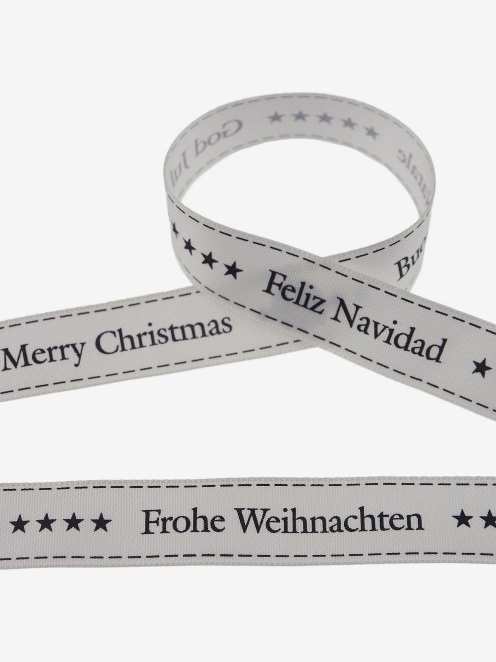 Geschenkband Frohe Weihnachten.Motivband Creme Frohe Weihnachten