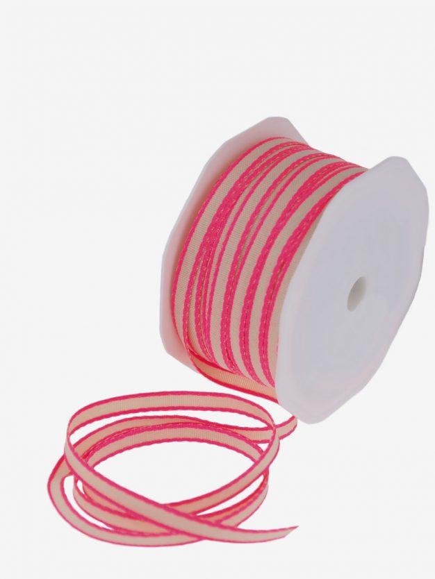 geschenkband-natur-webkante-neon-pink-schmal