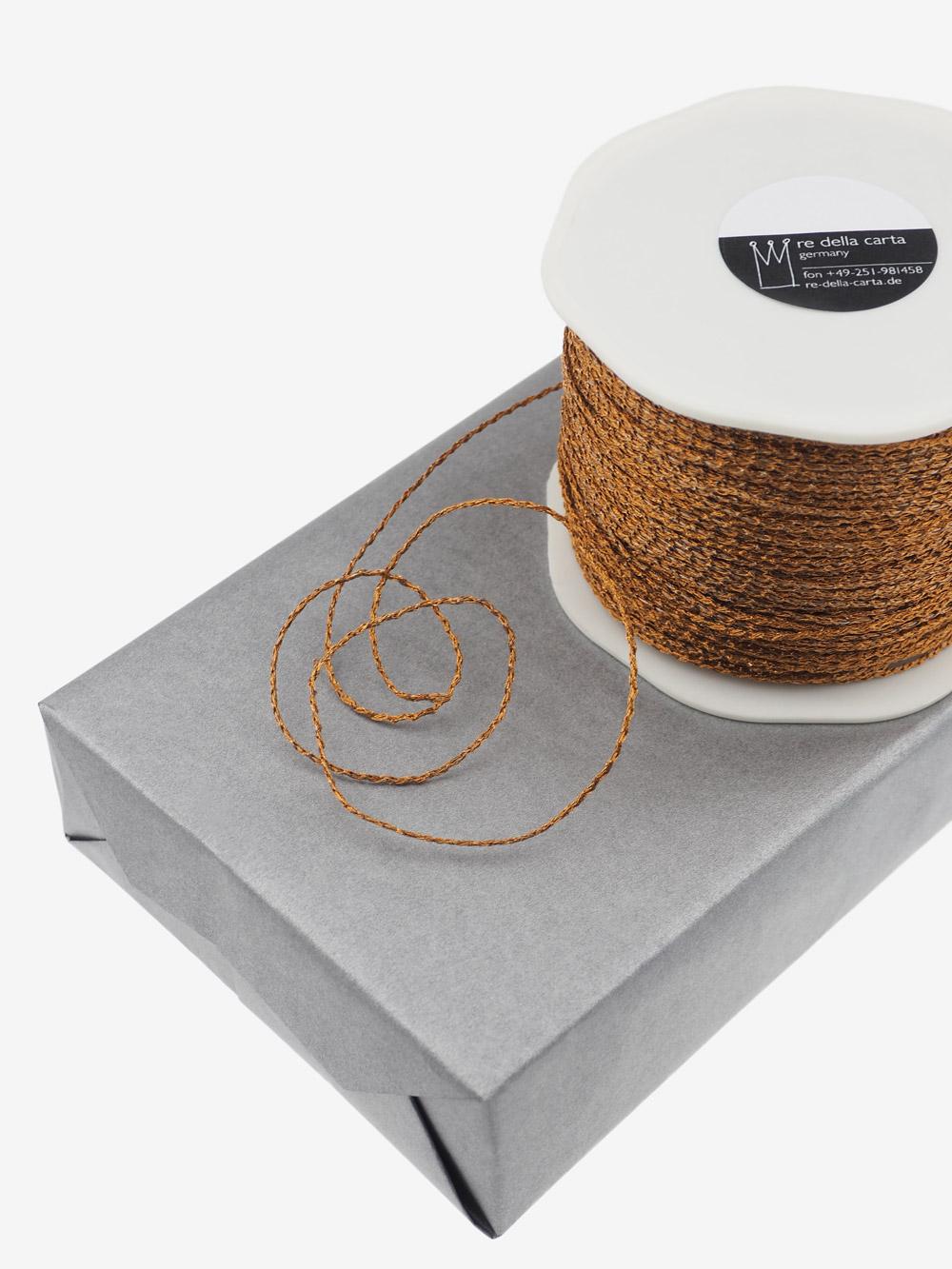 Kupferdraht Kordeloptik - edel für Weihnachtsverpackungen Grossrolle