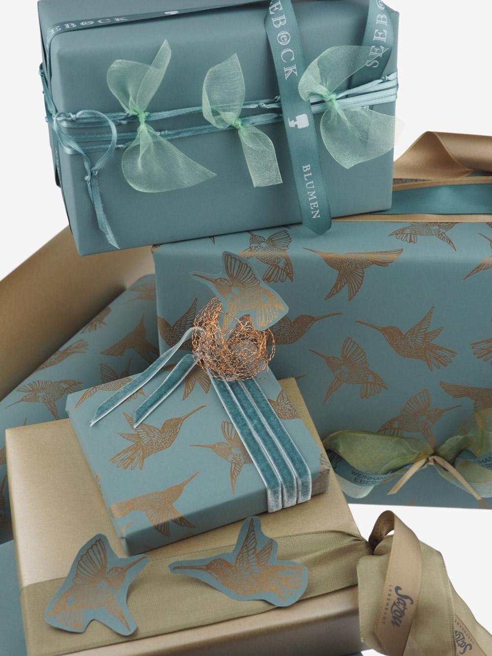 Geschenkpapier; Kolibri; gold; petrolgruen; mintgruen