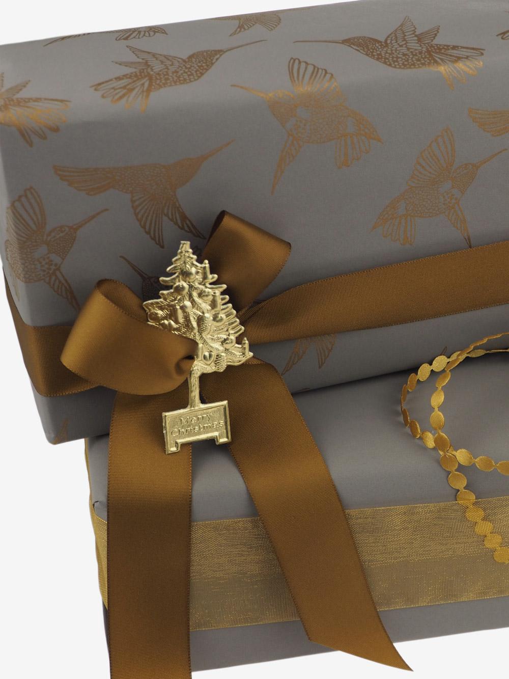 Geschenkpapier; Kolibri; gold