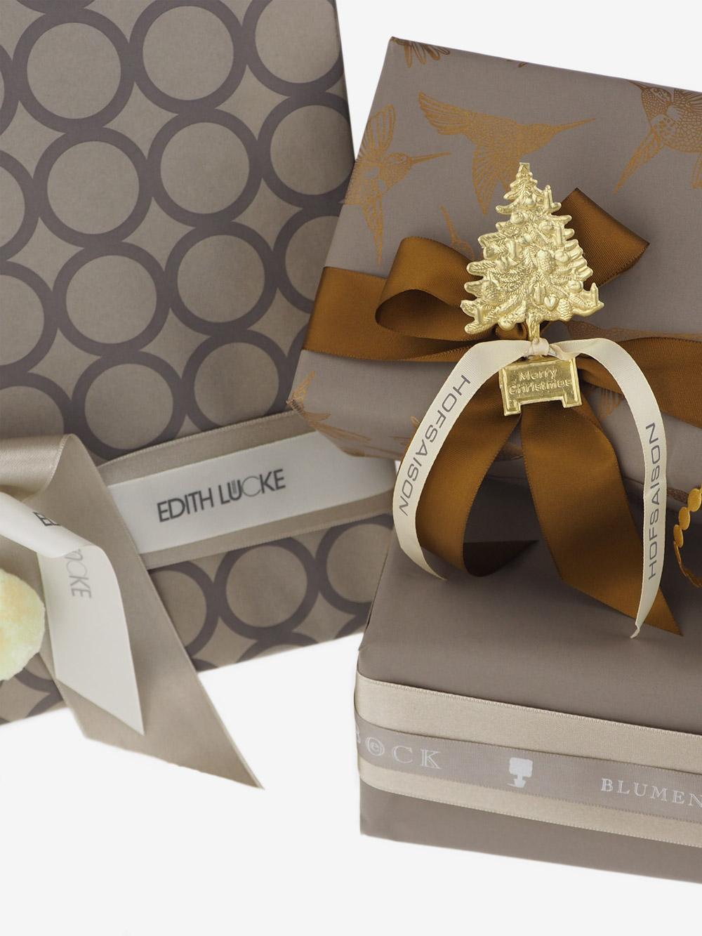 Geschenkpapier; Paeckchenwelt; taupe; sand; bronze
