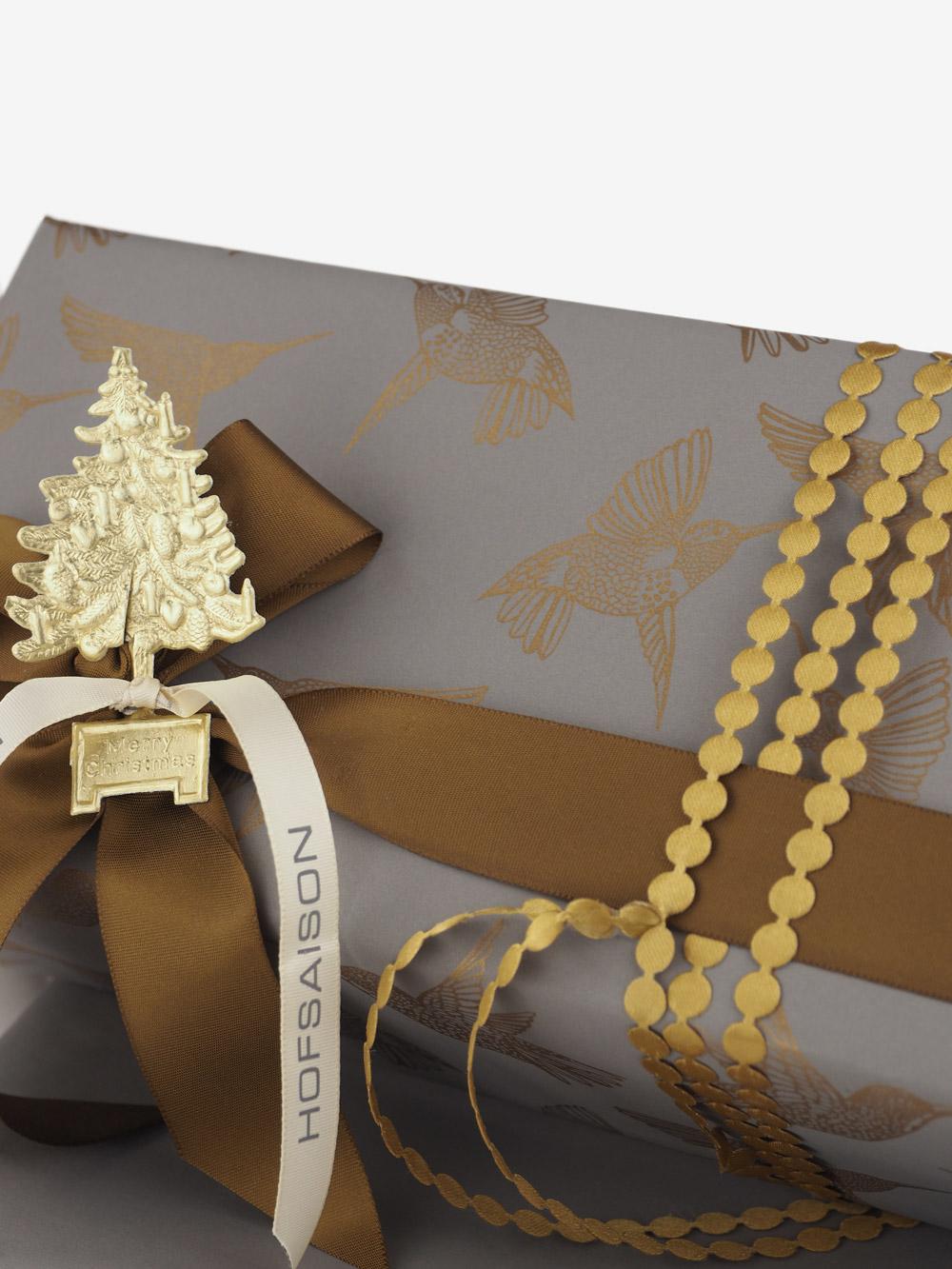 Geschenkpapier; taupe; bedruckt gold